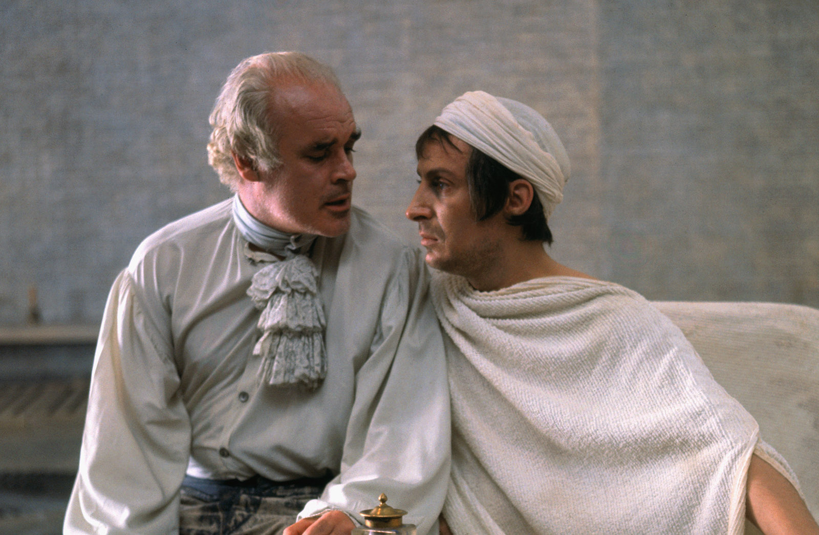 Patrick Magee as the Marquis de Sade and Ian Richardson as Jean-Paul Marat in the 1967 film adaptation of Peter Weiss's play, Marat/Sade, directed by Peter Brook