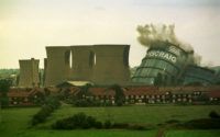 The former British Steel works at Ravenscraig in Motherwell being demolished by controlled explosion, Lanarkshire, Scotland, 1996