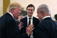 US President Donald Trump talking to Israeli Prime Minister Benjamin Netanyahu, with the president's son-in-law and architect of the Trump administration's new peace plan for Israel, Jared Kushner, in the background, Jerusalem, 2017