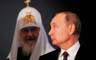 Vladimir Putin with Patriarch Kirill, the head of the Russian Orthodox Church, Moscow, November 2019