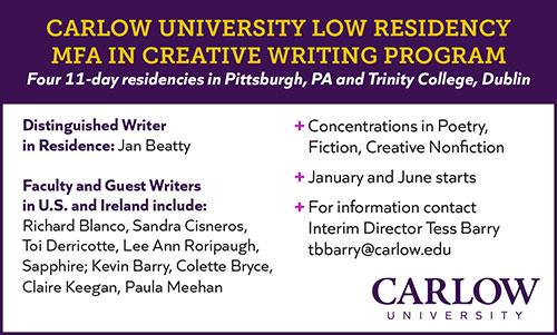 Ad for Carlow University Creative Writing MFA