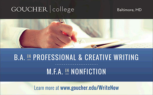 Ad for Goucher College Writing Programs