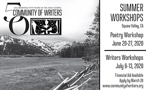 Ad for Summer Writing Workshops at Community of Writers