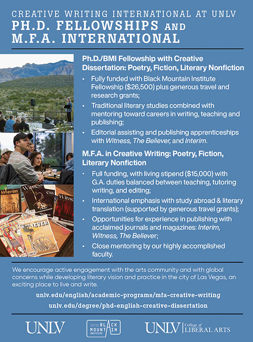 Ad for Creative Writing Programs at UNLV