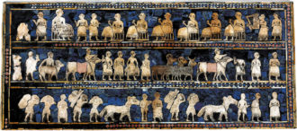 A panel from the Sumerian Standard of Ur depicting fish, animals, and goods being brought in procession to a banquet, circa 2600 BC