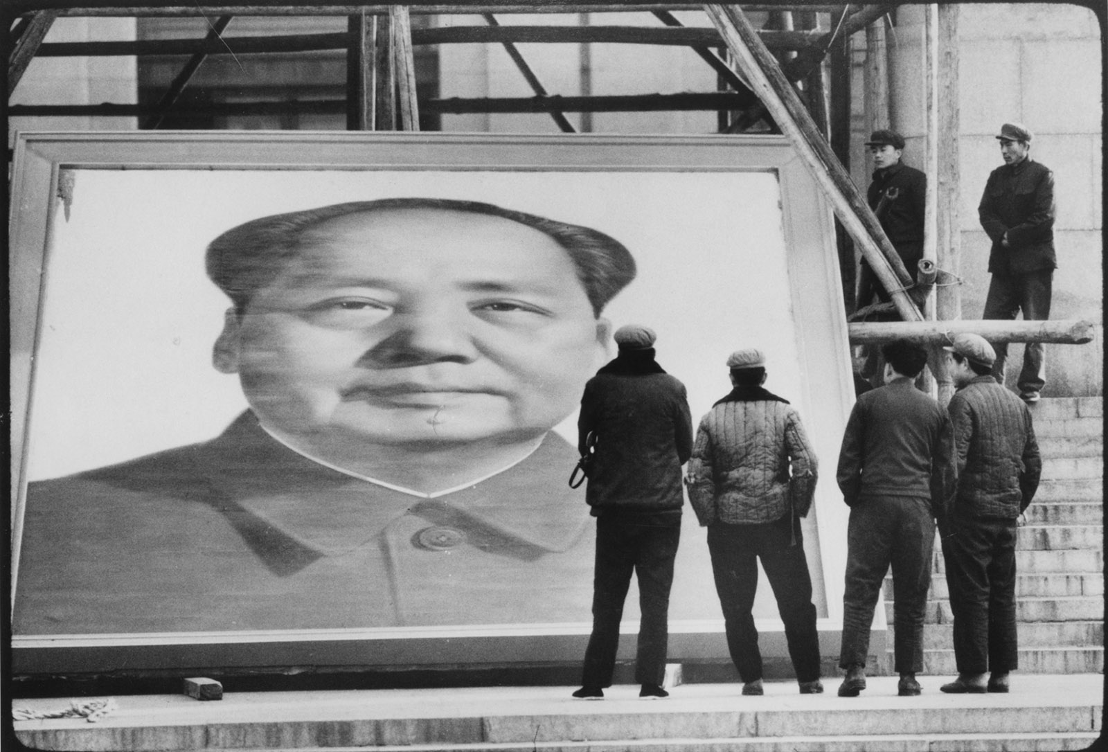 A portrait of Mao being removed from the Museum of Chinese History, Beijing, 1981