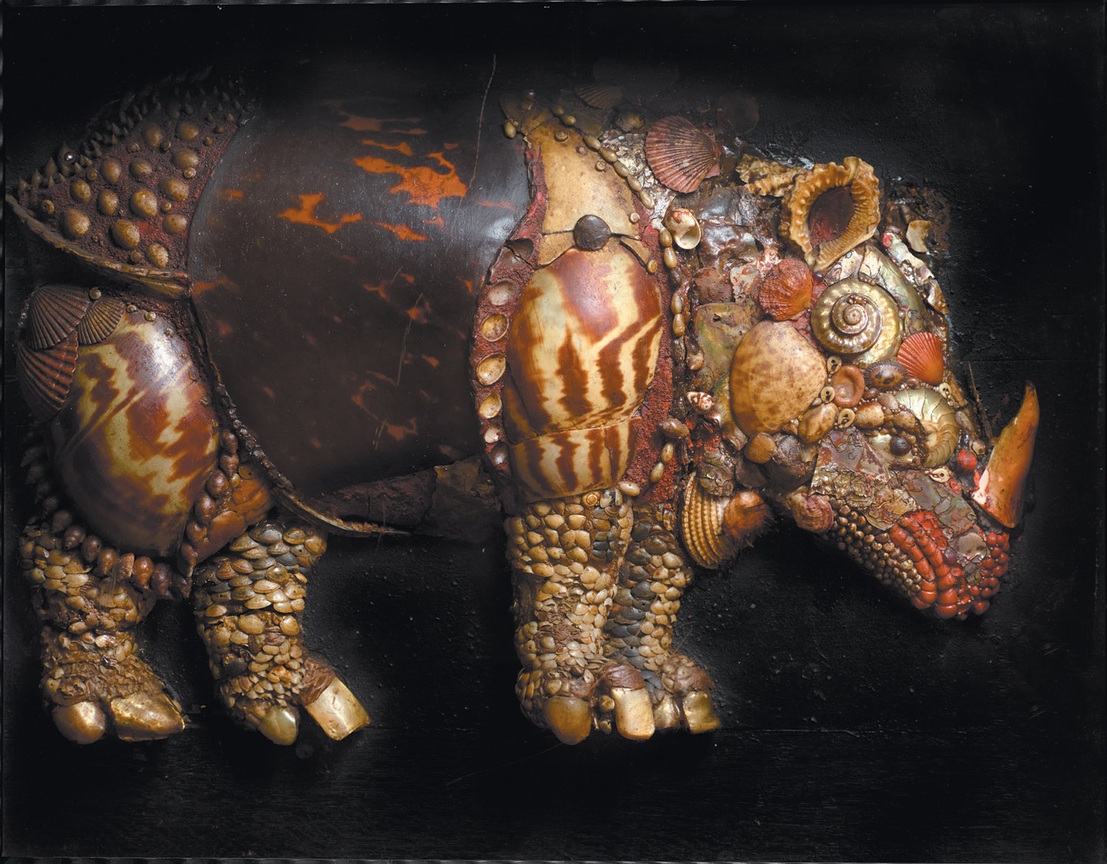 A rhinoceros made of tortoiseshell, coral, pearls, and seashells, based on a woodcut by ­Albrecht Dürer, early seventeenth century