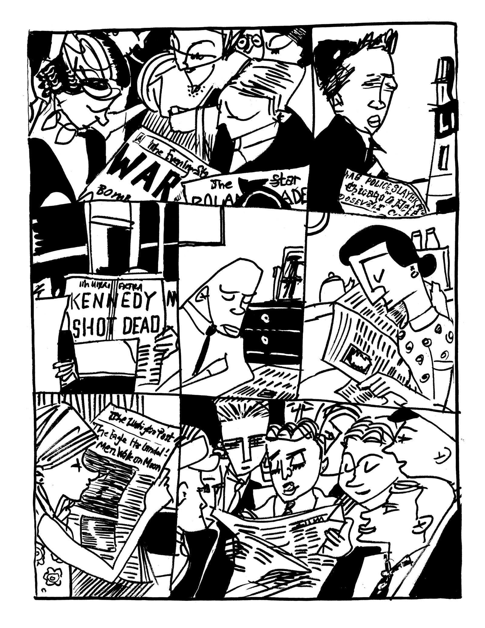 A drawing of people reading newspapers by Tom Bachtell