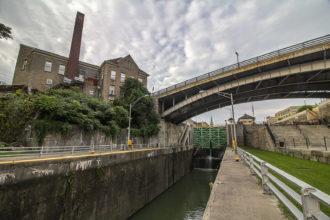 The Pine Street Bridge over locks on the Erie Canal, Lockport, New York