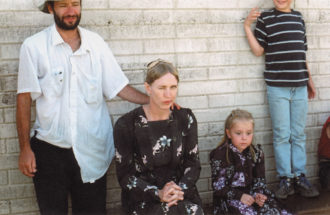 Miriam Toews in costume as the character Esther during the filming of Silent Light, directed by Carlos Reygadas (left) and set in a Mennonite settlement in Chihuahua, Mexico, July 2006
