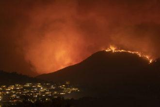 Wildfires near the suburbs of Canberra, Australia, January 2020