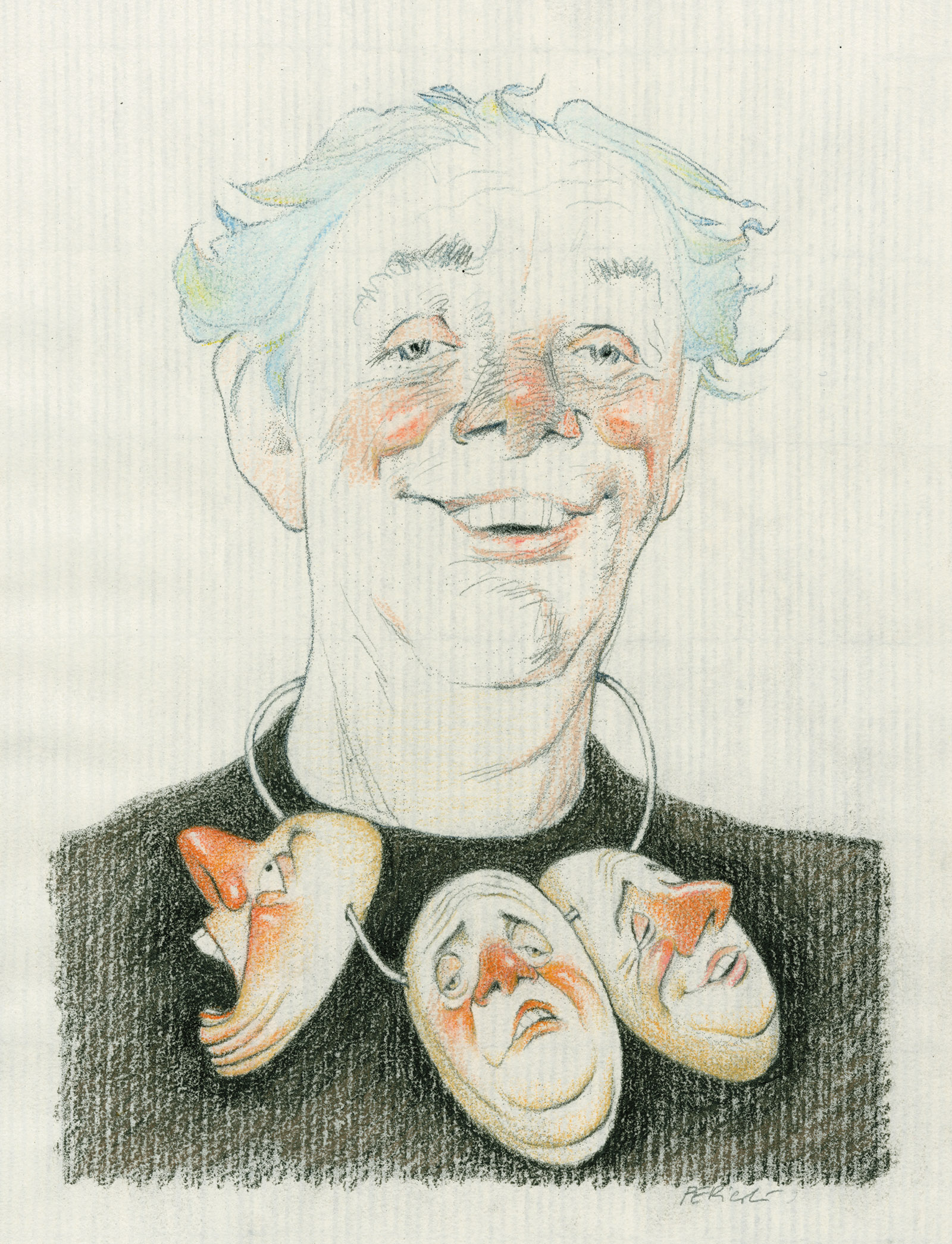 Drawing of Dario Fo by Tullio Pericoli