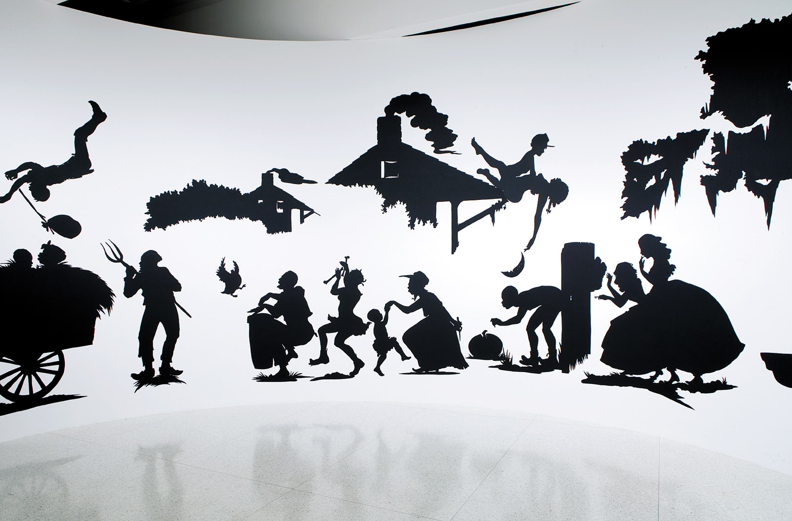 "Slavery! Slavery! Presenting a GRAND and LIFELIKE Panoramic Journey into Picturesque Southern Slavery or 'Life at ""Ol' Virginny's Hole"" (sketches from Plantation Life)' See the Peculiar Institution as never before! All cut from black paper by the able hand of Kara Elizabeth Walker, an Emancipated Negress and leader in her Cause, 1997; installation by Kara Walker"