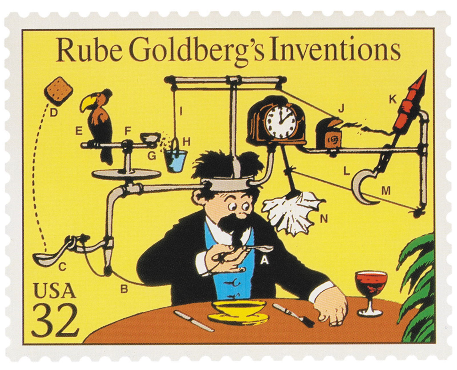 A 1995 US postage stamp adapted from artwork by Rube Goldberg, September 26, 1931