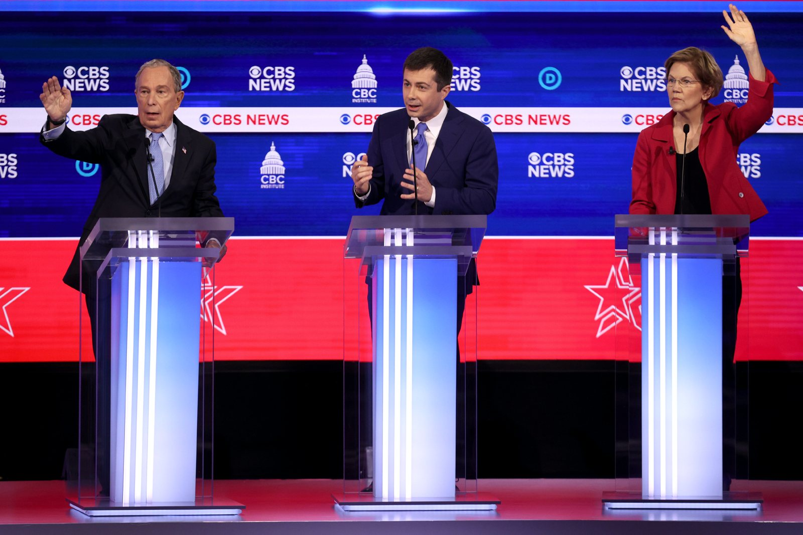Mike Bloomberg, Pete Buttigieg, and Elizabeth Warren