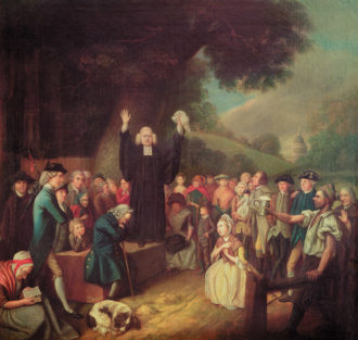 George Whitefield delivering a sermon in England; painting by John Collet, 1700s