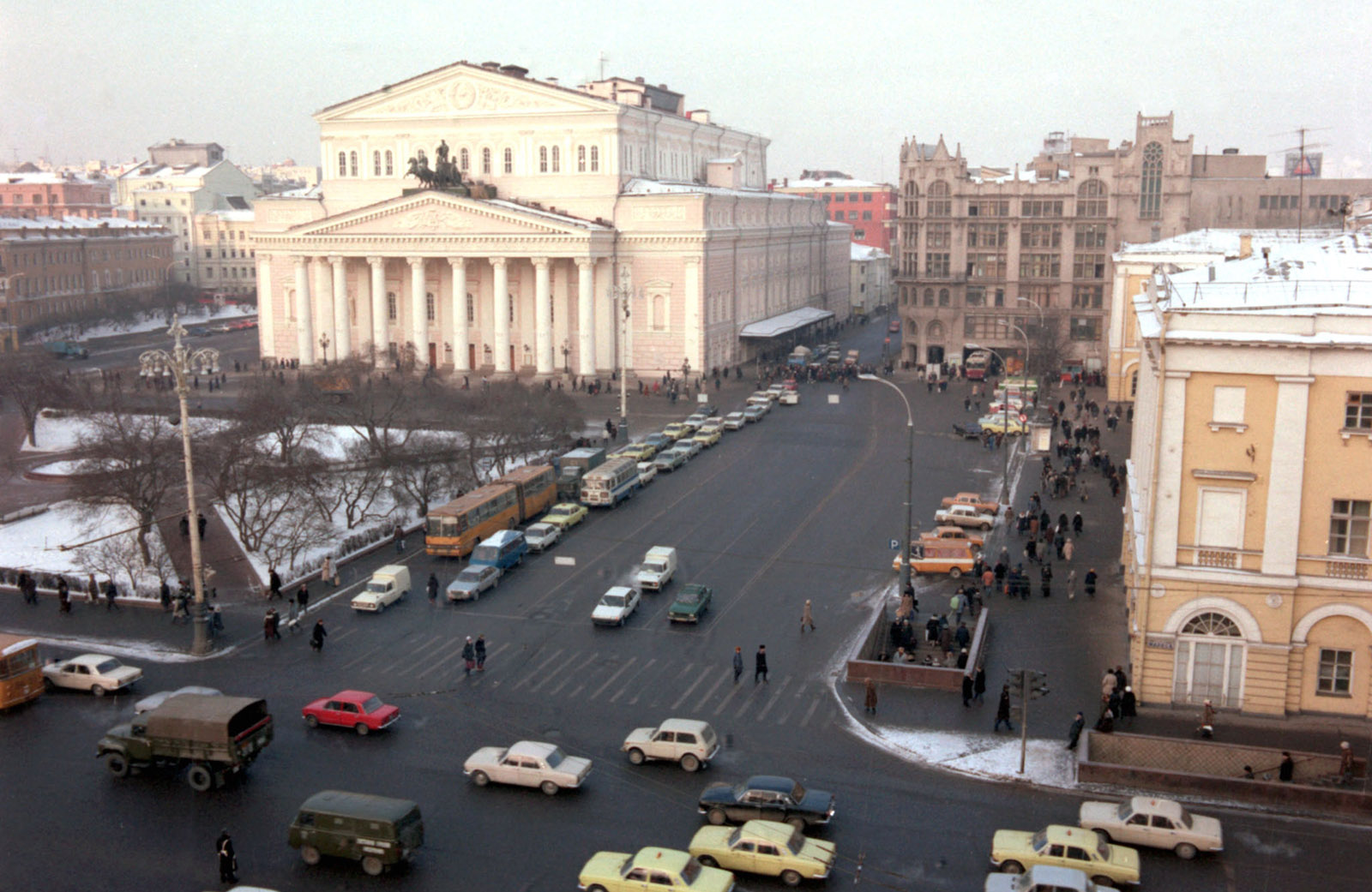 A view of the Bolshoi Theater, Moscow, USSR, January 1988