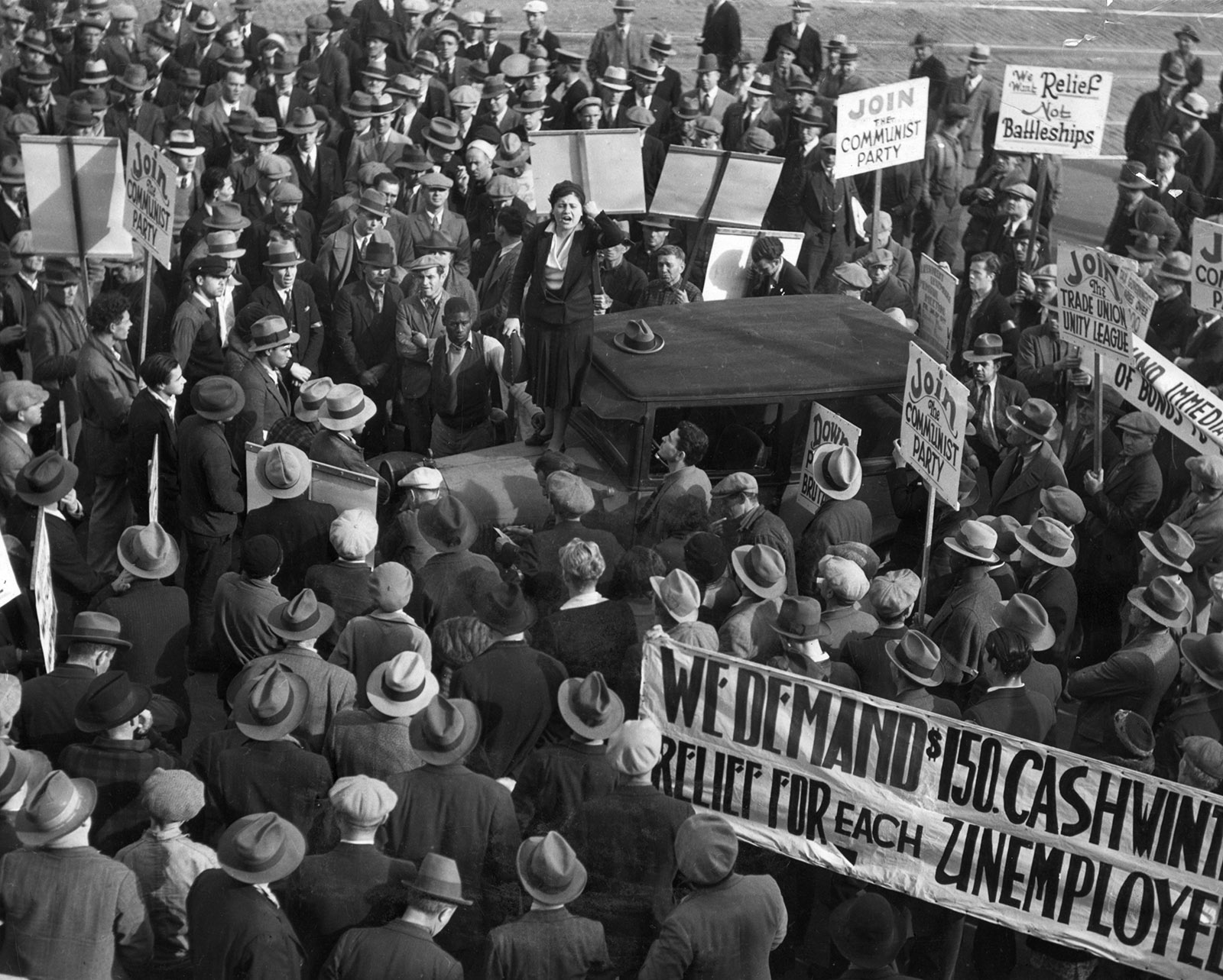 A Communist Party rally calling for relief for the unemployed, San Francisco, circa 1930