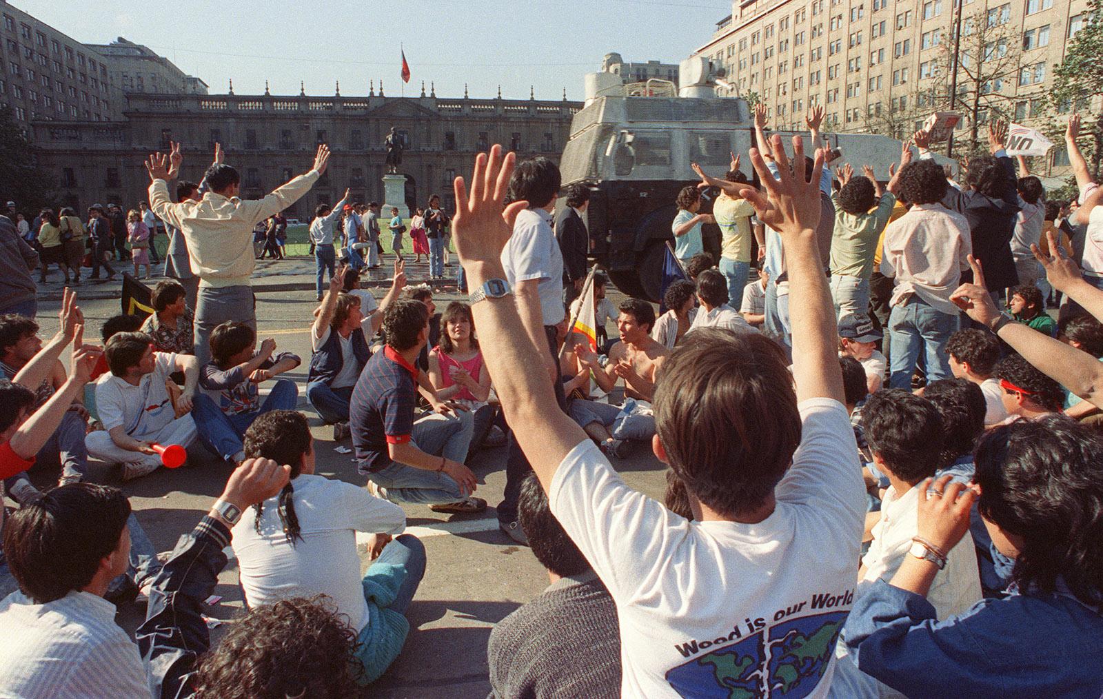 Protesters in Santiago, Chile, 1988