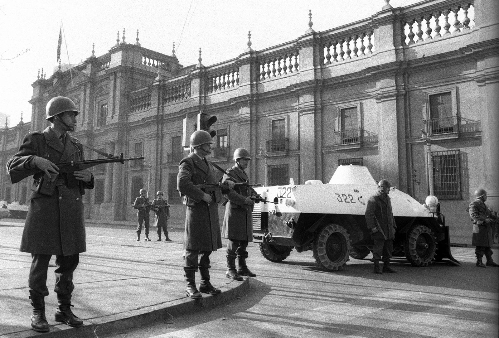 Presidential guards at La Moneda Palace, Chile 1973