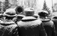 Muscovites gathering in the snow, USSR, 1983