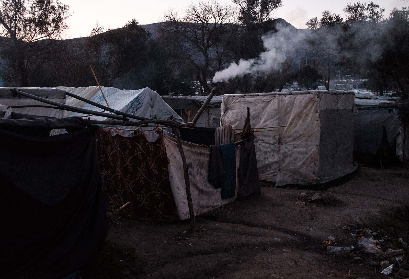 An improvised stove pipe in Vial refugee camp