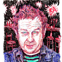 Kevin Barry; drawing by Hope Gangloff