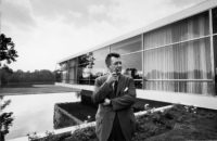 Gordon Bunshaft, 1957; behind him is the Connecticut General Life Insurance building, designed by Skidmore, Owings & Merrill, 1953–1957