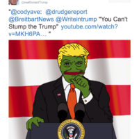 A tweet by Donald Trump featuring an image of himself as Pepe the Frog, a symbol used by the far right, October 13, 2015