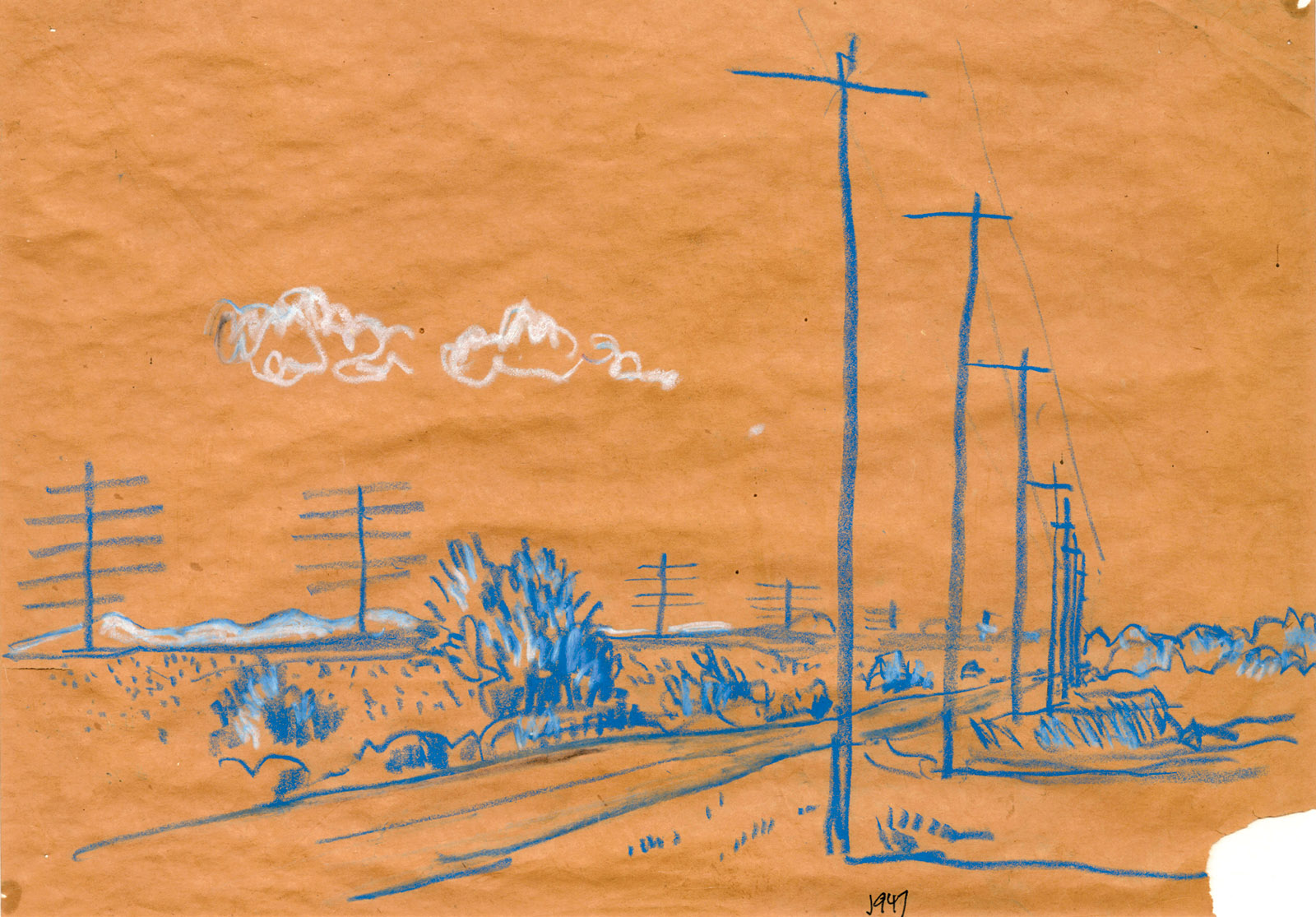 Telephone Poles; drawing by J.B. Jackson