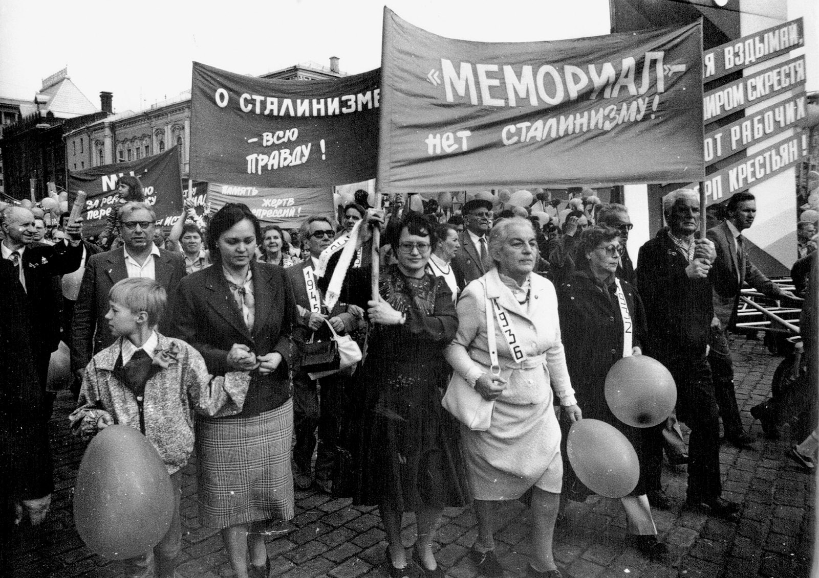 Supporters of the Memorial Society taking part in an International Workers' Day march, Moscow, May 1990