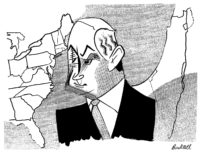 Benjamin Netanyahu; drawing by Tom Bachtell