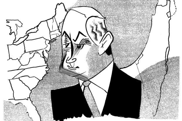 Benjamin Netanyahu; drawing by Tom Bachtell