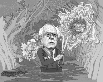 Bernie Sanders; drawing by Anders Nilsen