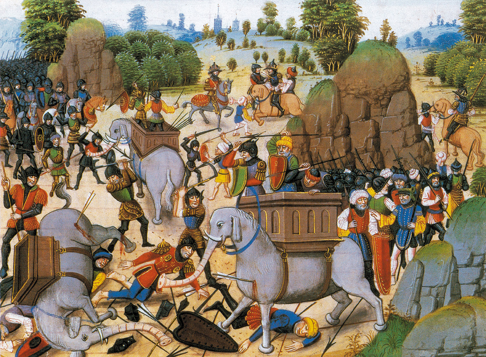 The Battle of the Hydaspes between the troops of Alexander the Great and the Indian king Porus