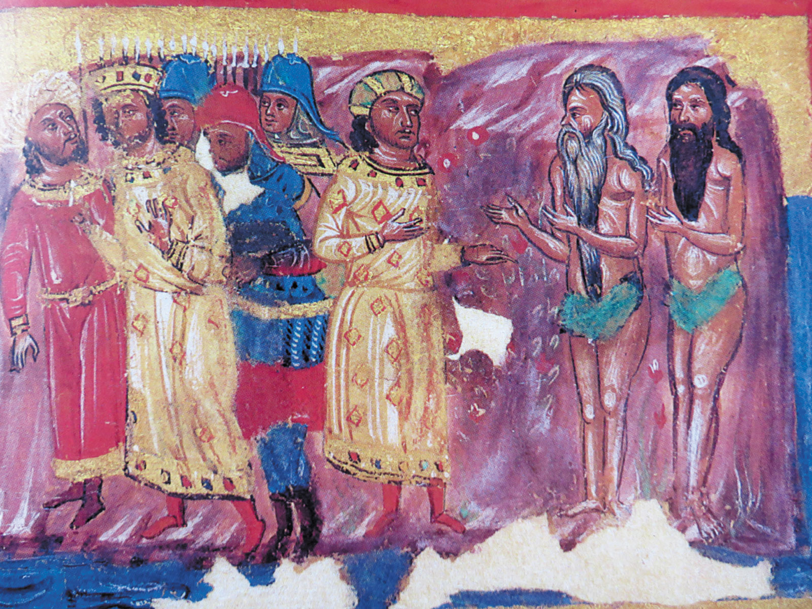 Alexander the Great meeting Gymnosophists (naked philosophers) in India