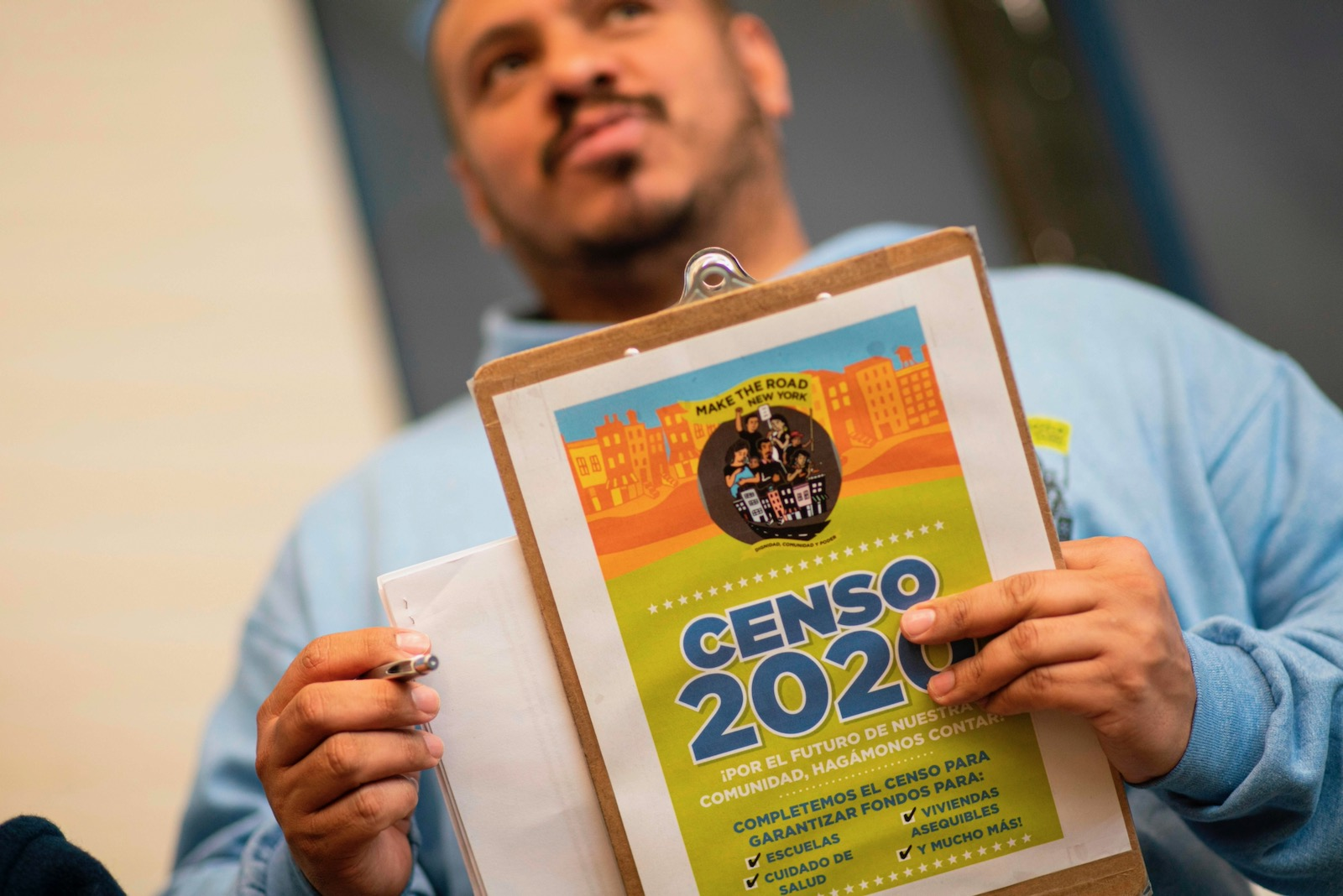 Douglas Carrasquell, of the immigrant rights group Make the Road New York, attending a training meeting about Census, Queens, New York, March 13, 2020