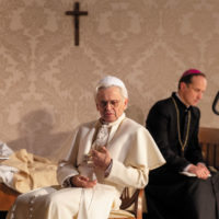 Mikhail Baryshnikov as Benedict XVI and Kaspars Znotiņš as Georg Gänswein in The White Helicopter at the New Riga Theater