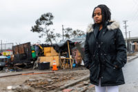Carroll Fife, director of the Oakland chapter of the Alliance of Californians for Community Empowerment and a representative of Moms 4 Housing, in front of a homeless encampment in Oakland, California, January 28, 2020