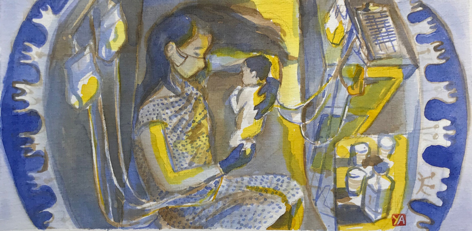 A painting of the author with her newborn baby