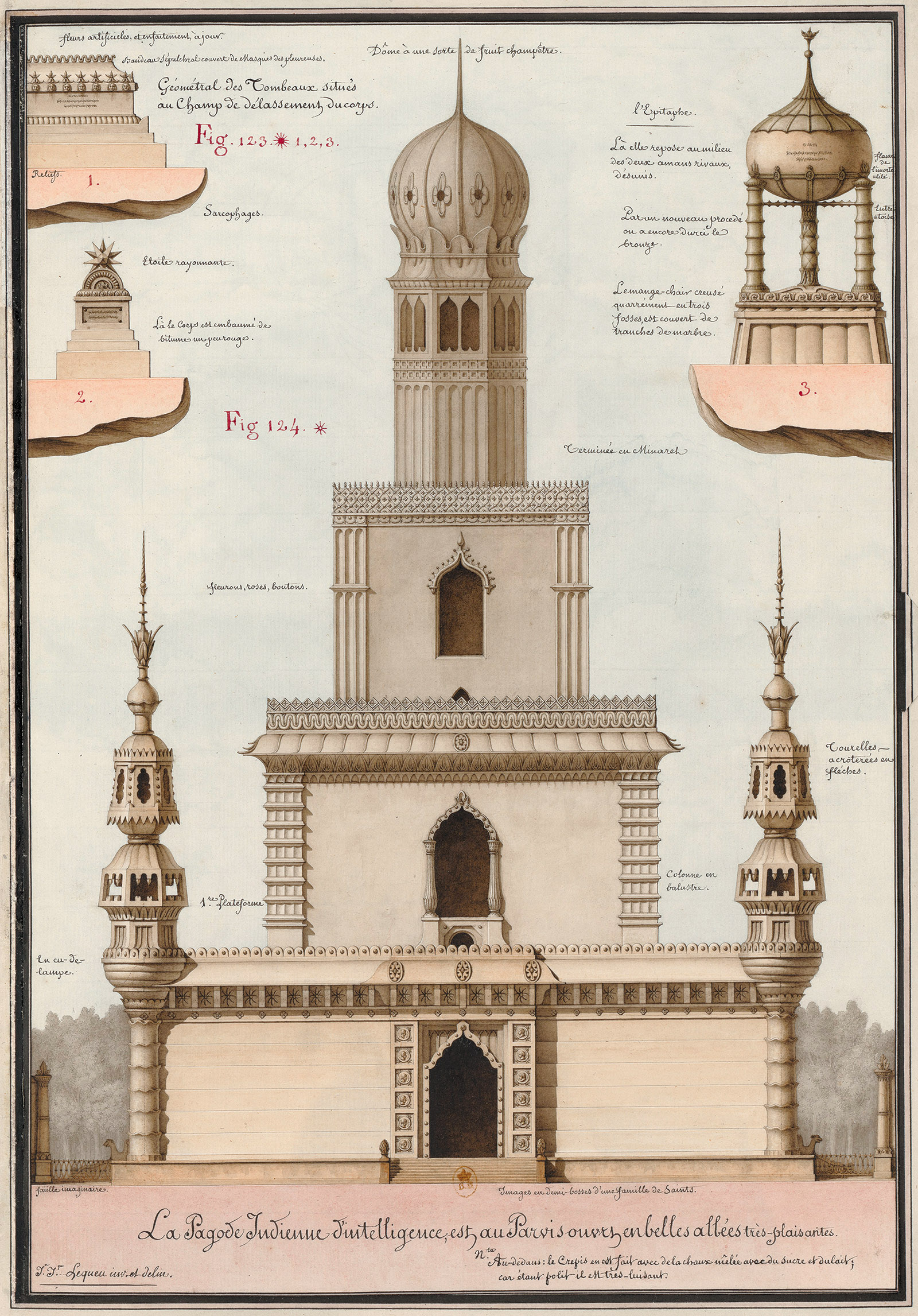 Indian Pagoda of Intelligence; drawing by Jean-Jacques Lequeu