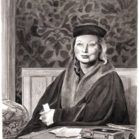 Hilary Mantel; drawing by Karl Stevens