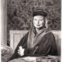 Hilary Mantel; drawing by Karl Stevens