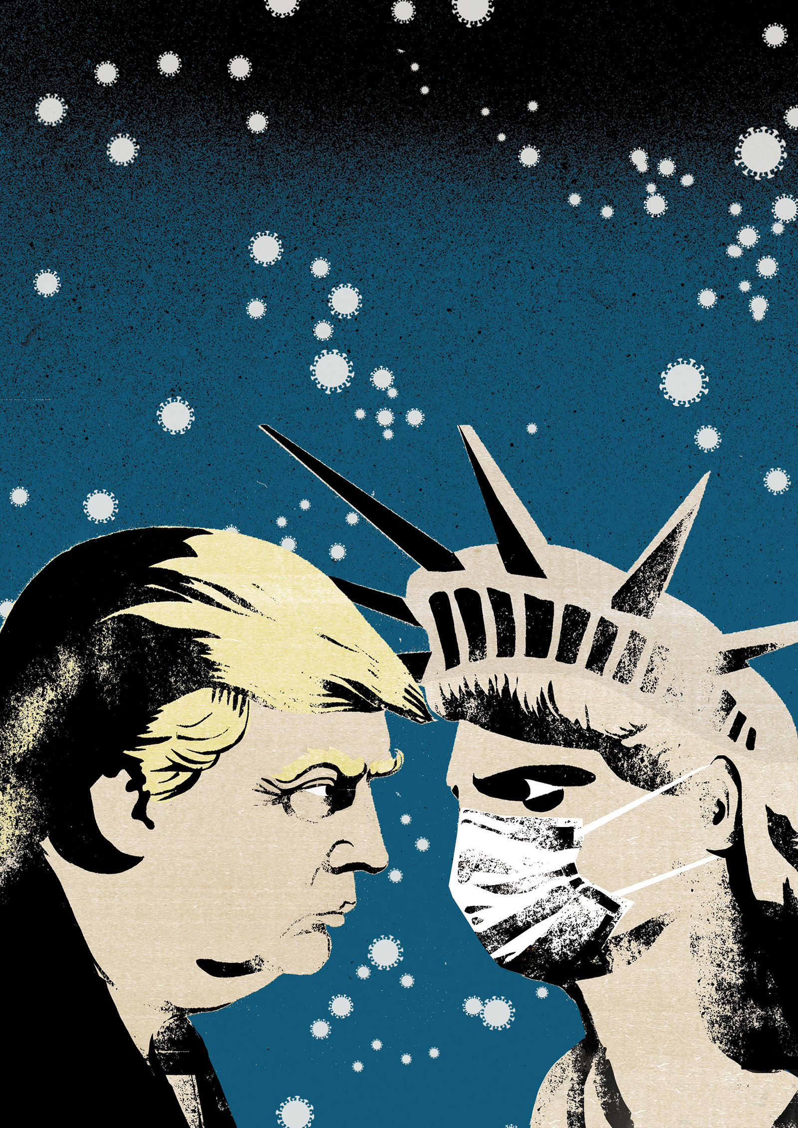 Illustration of Trump and the Statue of Liberty with a mask