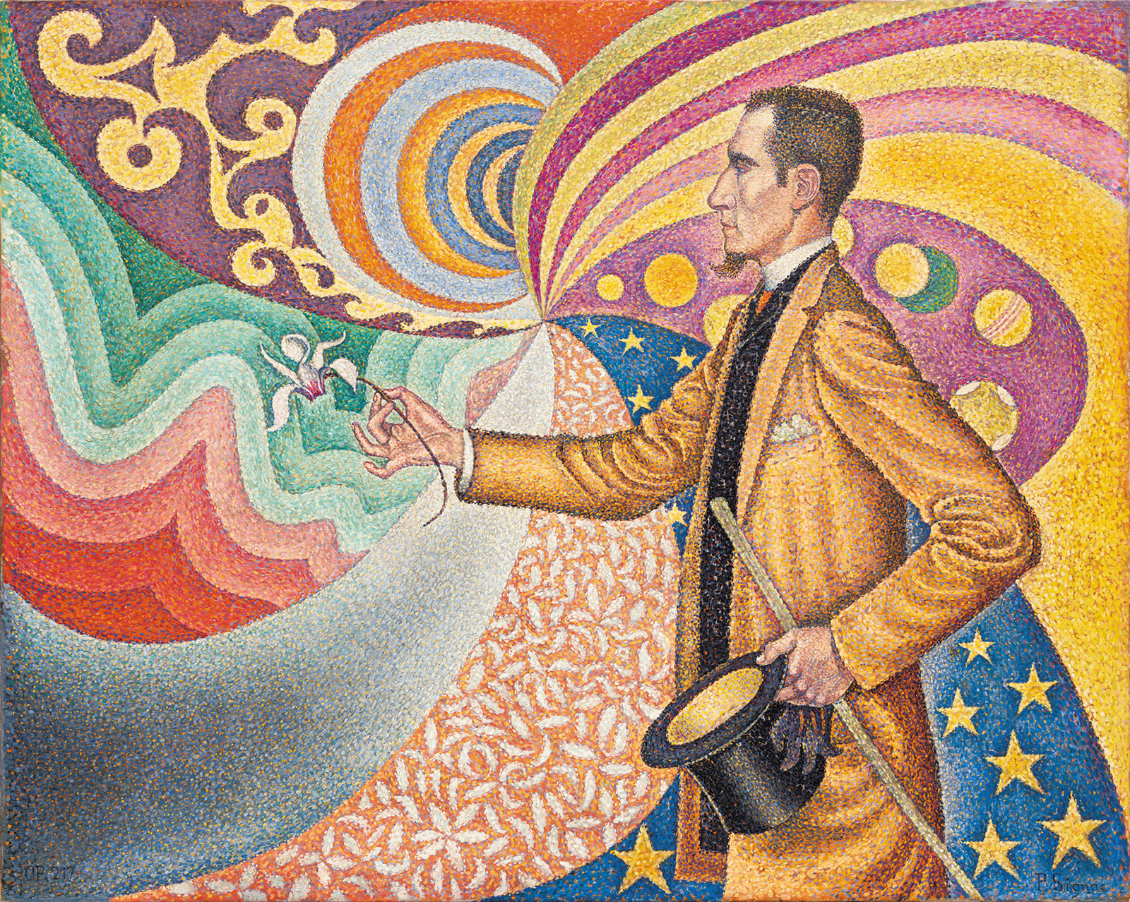 Paul Signac: Opus 217. Against the Enamel of a Background Rhythmic with Beats and Angles, Tones, and Tints, Portrait of M. Félix Fénéon in 1890, 1890