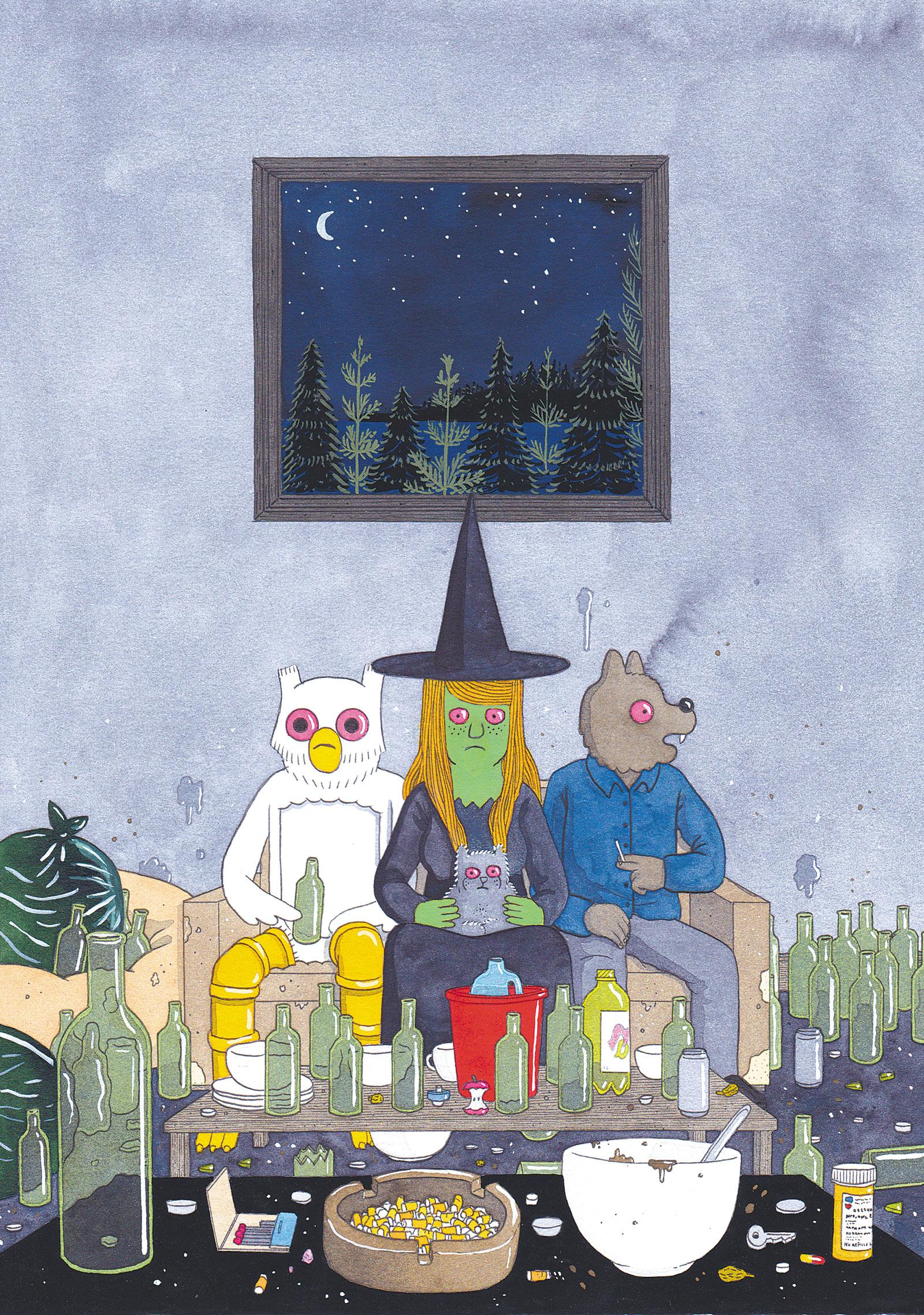 Illustration of Owl, Megg, Mogg, and Werewolf Jones