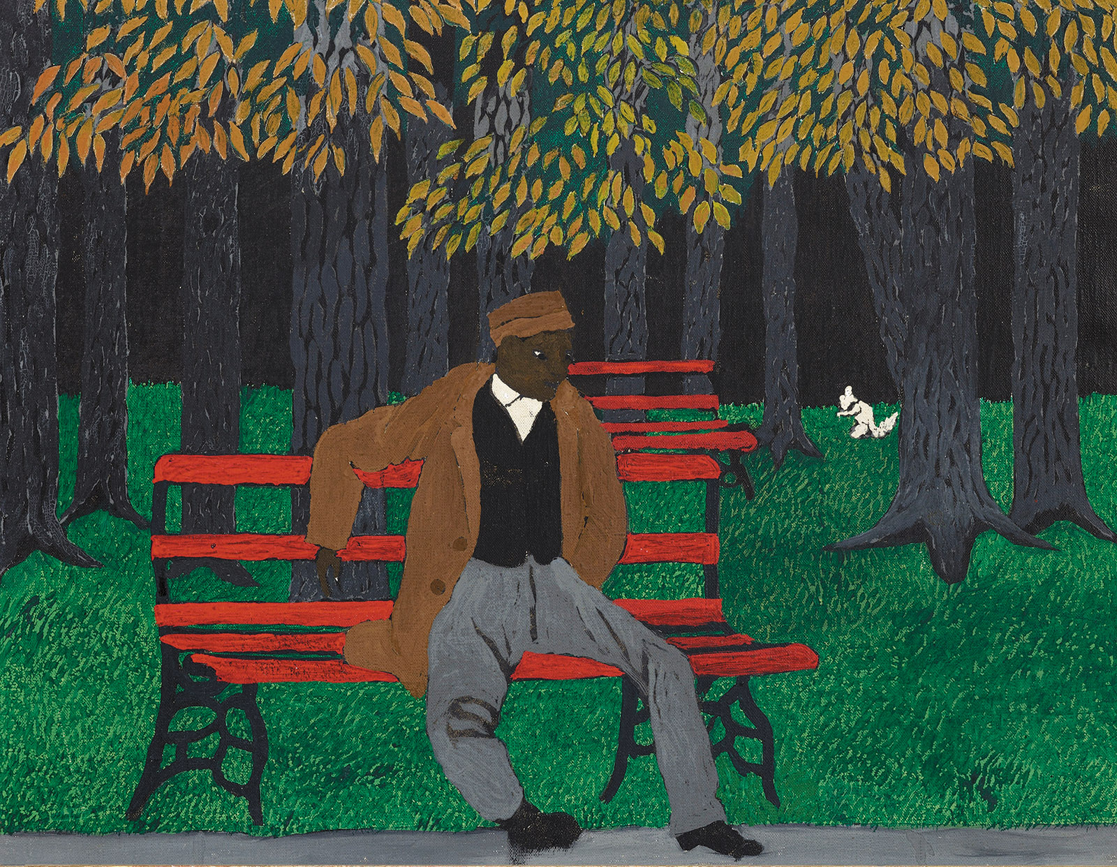 The Park Bench; painting by Horace Pippin