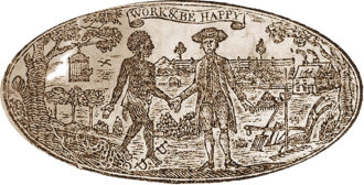 The seal of the Pennsylvania Society for Promoting the Abolition of Slavery, circa 1789