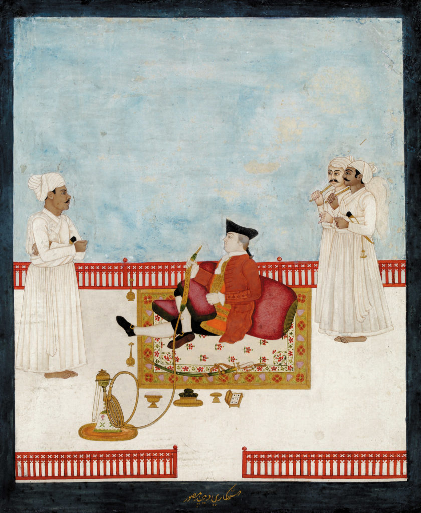 An East India Company official, probably the Scottish surgeon William Fullerton of Rosemount, with attendants; painting by Dip Chand, circa 1760–1764