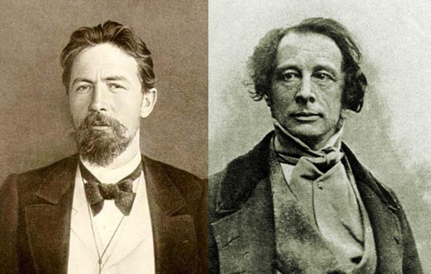 Anton Chekhov in Yalta, 1900; Charles Dickens in daguerreotype by Antoine Francois Jean Claudet, London, circa 1852
